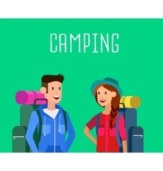 summer camping characters vector image