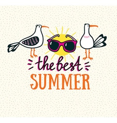 Summer card with hand drawn stylish lettering - vector