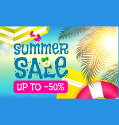 summer sale background shining sun warm sea vector image