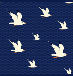summer seamless sea pattern with flying seagulls vector image