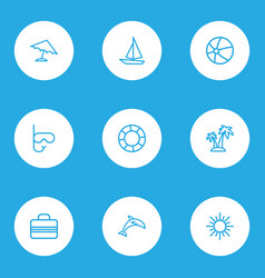 sun icons line style set with diving mask vector image