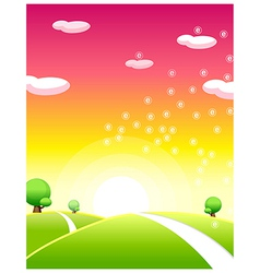 Sunrise over green landscape vector