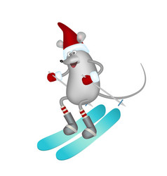 Symbol year cartoon gray mouse in a red vector