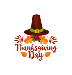 Thanksgiving day icon of pilgrim hat autumn leaf vector