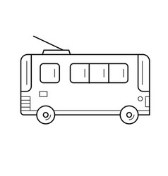 Trolleybus line icon vector