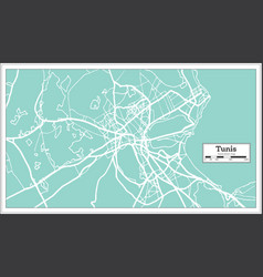 tunis tunisia city map in retro style outline map vector image
