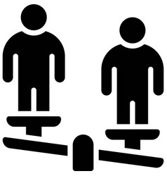 Unbalanced scale with two human icon protest vector