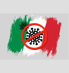 vintage italian flag with stop sign vector image