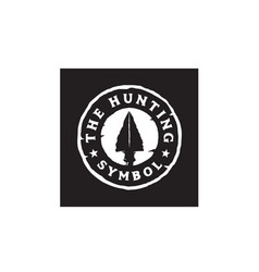 Vintage retro rustic spear arrowhead hunting logo vector