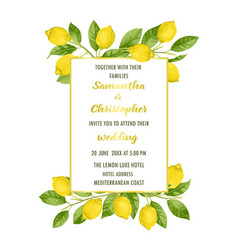 wedding invitation card with lemon brunches vector image