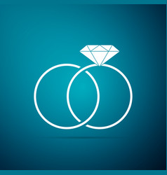wedding rings icon isolated on blue background vector image