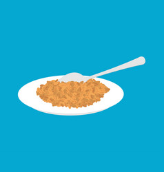 Wheat porridge in plate and spoon isolated vector