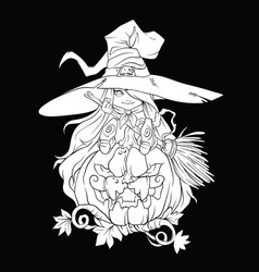 white contour drawing of a sorceress on a vector image