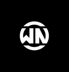 wn logo monogram isolated on circle element vector image