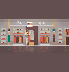 Woman trying on new dress clothing store customer vector