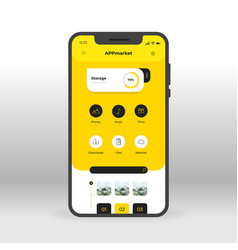 yellow app download market ui ux gui screen for vector image