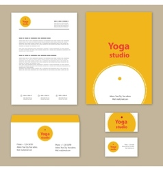 Yoga studio branding set vector