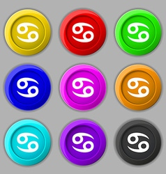 Zodiac Cancer icon sign symbol on nine round vector