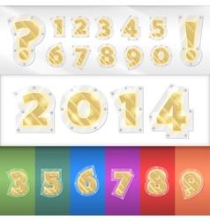 alphabet golden numbers vector image vector image