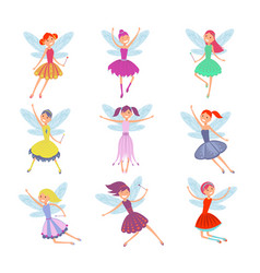 cartoon flying fairies in colorful dresses vector image vector image