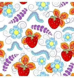 Funny seamless pattern with strawberry vector image vector image