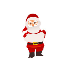 santa claus in glasses holding blank empty board vector image