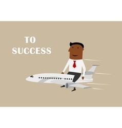 Businessman flying on airplane to success vector image