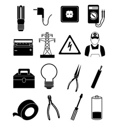 Electrician icons set vector image vector image