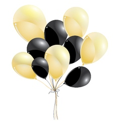 Gold and black balloons isolated on black vector image vector image