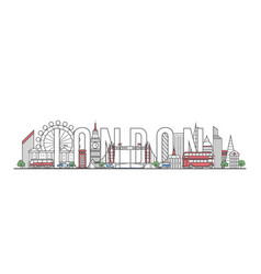 london travel lettering in linear style vector image vector image