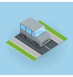 Car on Road in Isometric Projection vector image vector image