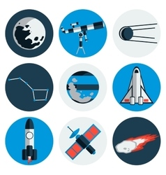 Flat design icons of space and astronomy vector image vector image