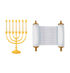 golden jew menorah with candles hebrew religion vector image
