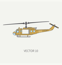 line flat color icon military turboprop vector image vector image