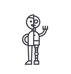 man android robot line icon sign vector image