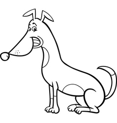 sitting dog cartoon for coloring book vector image vector image