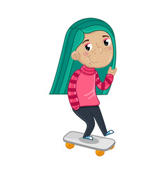 smiling little girl riding on skateboard vector image