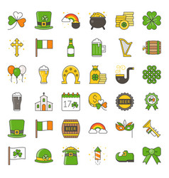 st patrick day related filled icon set vector image vector image