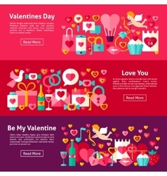 Valentines Day Web Horizontal Banners vector image vector image