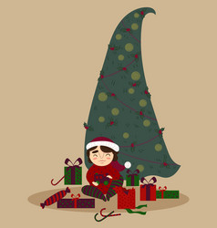 cute boy with presents under the christmas tree vector image vector image