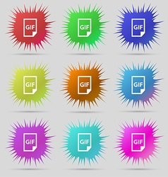 File GIF icon sign A set of nine original needle vector image vector image
