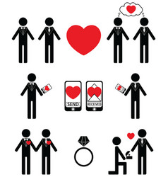 Gay man Falling in love and engagement icons vector image vector image