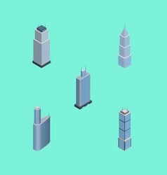 isometric skyscraper set of apartment business vector image