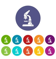 Microscope set icons vector image vector image