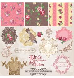Scrapbook Design Elements - Vintage Flowers vector image vector image