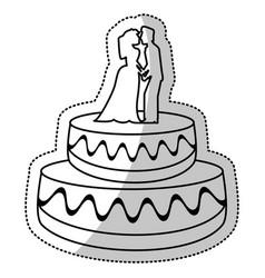 wedding cake couple dessert outline vector image vector image