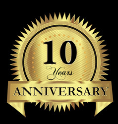 10 years anniversary gold seal logo design vector