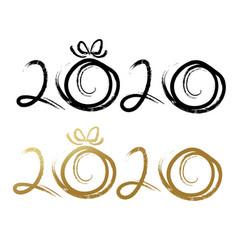 2020 handwritten lettering brush stroke on white vector image
