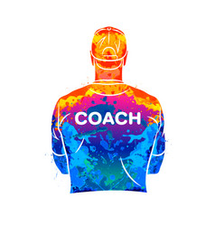 Abstract sports coach stands with his back in a t vector