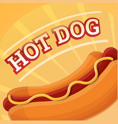 american hot dog concept background cartoon style vector image